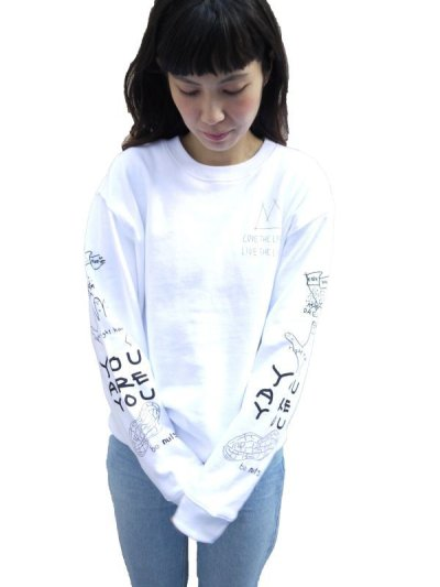 画像1: POSITIVE GRAFFITI  SWEAT (WHITE)