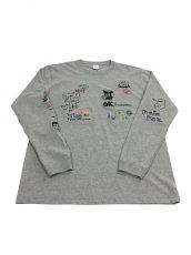 画像1: His scribble  L/S TEE (MIX GREY) (1)