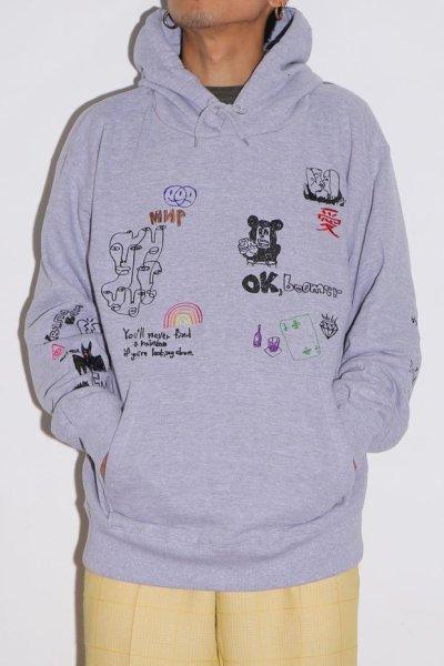 画像1: His scribble hoodie